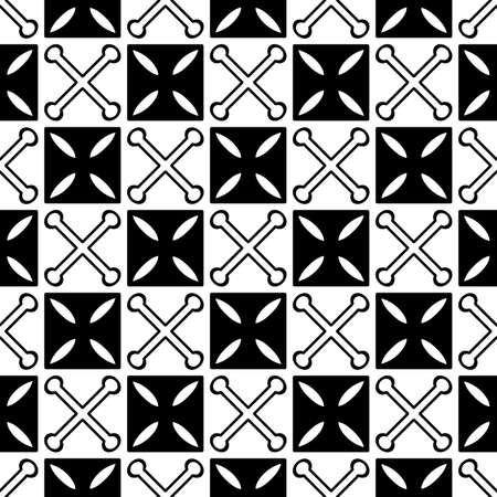 Vector seamless background with squares and crossed abstract elements. Ethnic screen printing . Artistic hand-painted fabric . Monochrome