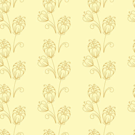 Seamless pattern. Contours of simple flowers and buds . Vector Hand drawing, monochrome. For fabric, paper , wallpaper and other surfase.