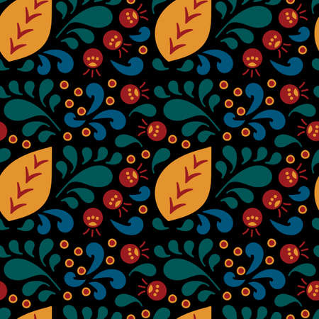 Vector seamless pattern of curls, spirals and berries on a black background. Ethnic ornament, Floral art decor.