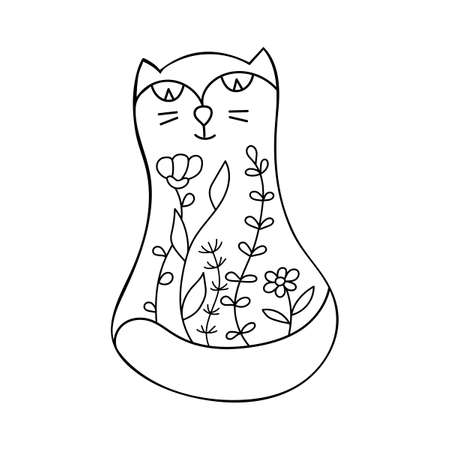 Cute cat and flowers. Doodle style. Coloring book, page for adults and schoolchildren. Vector illustration isolated on white background.