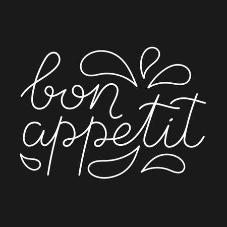 Bon appetit. The phrase in the French language . Handwritten, isolated on a dark background. Vector illustration. Vetores