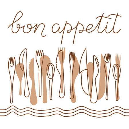 Bon appetit, a handwritten phrase . Cutlery on the tablecloth. Vector illustration, calligraphy.