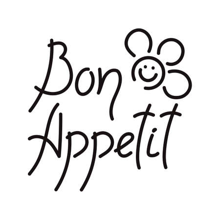 Bon appetit, lettering. Handwritten phrase, isolated on a white background. Vector illustration.