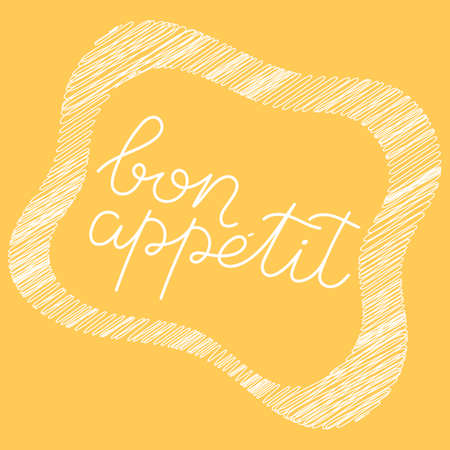 Bon appetit. The phrase in the French language . Handwritten positive, motivating inscription, isolated . Vector illustration. Vettoriali