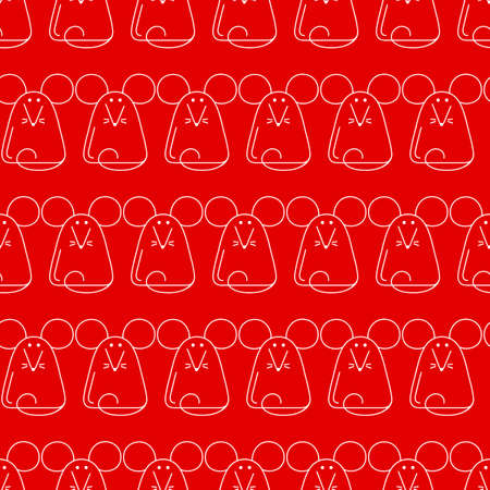 Cute mice, vector seamless background. Monochrome hand drawn animals. Line style, Outline mouse on red background.