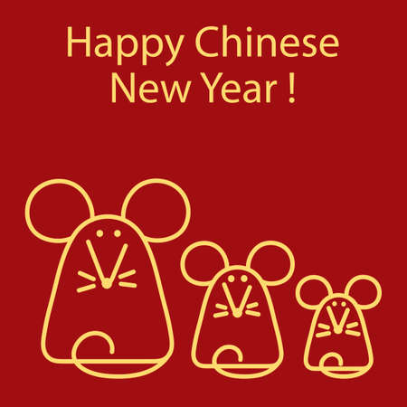 Happy Chinas New Year. Vector illustration of a holiday. Cute mouse on red background. Line style.