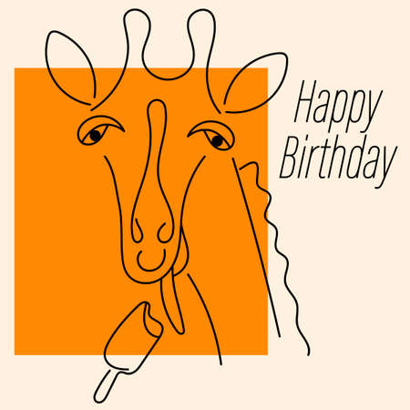 Greeting card with a giraffe licking . Happy Birthday text. Line style, Funny giraffe isolated on white background. Animal Safari vector illustration