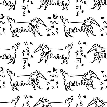 Cute long-haired Dachshund, seamless vector background, line art. Hand drawn animals and doodle elements. Black and white.