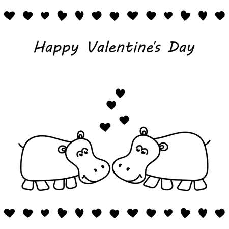 Two cute hippos in love. Valentine's day greeting card. Happy Valentine's day text. Hand drawn vector illustration.