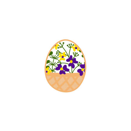 Hand drawn decorative Easter eggs. Basket with flowers. Vector illustration isolated on white background.
