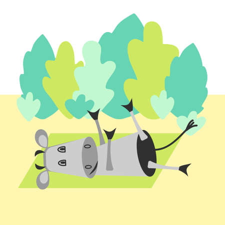 Funny cow doing yoga in a clearing in the woods. Vector hand drawing. 일러스트