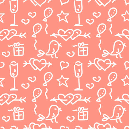 Doodle hand drawn seamless pattern, holiday theme. Hearts, arrows, gifts, small birds, balloons and other elements. Line Doodle sketch. Vector illustration on pink background
