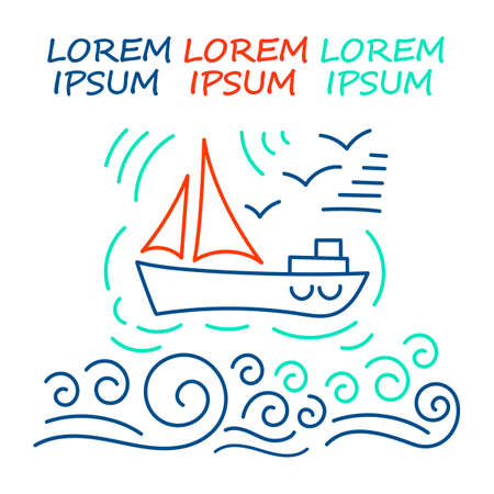 Painted sailing yacht in the sea, waves, clouds, seagulls. Line Doodle sketch. Space for text, advertising. Vector illustration on white background.