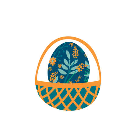 Hand drawn decorative Easter eggs in Basket . Egg painted with flowers and leaves, floral pattern. Vector illustration isolated on white background. Illusztráció