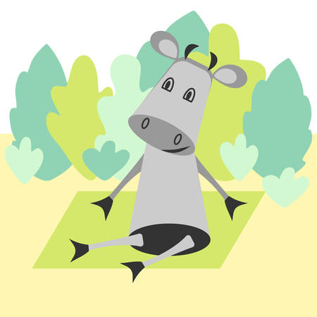 Funny cartoon cow doing yoga in a clearing in the woods. Trees in the style of flat. Vector hand drawing.