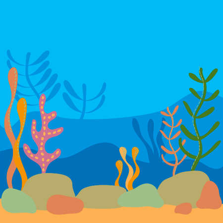 Multilayer Underwater world, landscape with seaweed. the silhouette of the plants in a flat cartoon style. Hand-drawn vector illustration for the background, scenery of your project. place for text
