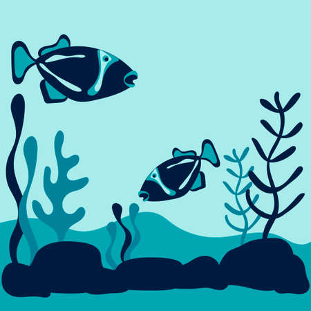 Blue silhouette fishes and plants. Vector underwater world. Ocean, river or aquarium . Nature, animals, plants. Space for your text.