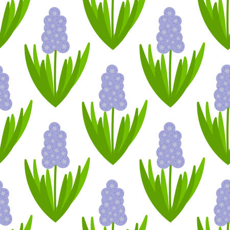 Seamless pattern with Hyacinths. Spring flower. Vector hand-Drawn background for fabric and other surfaces Illusztráció