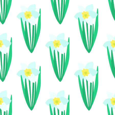 Seamless pattern. White Narcissus flower with green leaves. Spring flowers. Hand drawn botanical vector. Daffodil flower Illusztráció