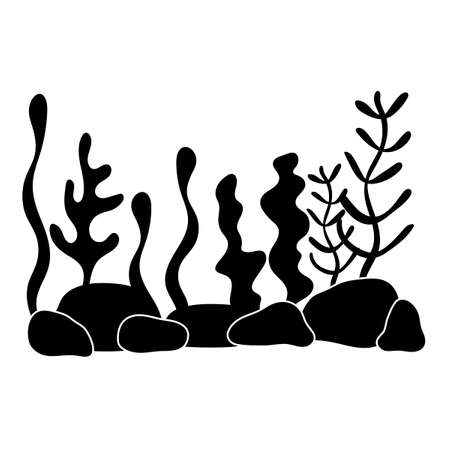 Underwater world, landscape with seaweed. plant silhouettes in a flat style. Monochrome, black and white. Hand-drawn vector illustration for the background, scenery of your project