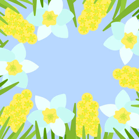 Beautiful frame with white daffodils and hyacinths. Vector floral design for poster, greetings and more on blue