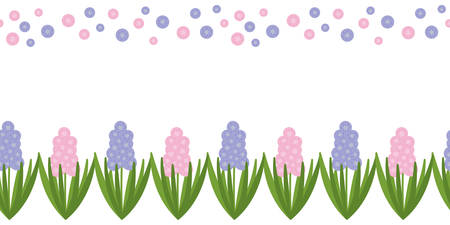 Seamless border with pink , purple hyacinths and polka dot. Spring flower on white background. Vector drawn background for fabric and other surfaces
