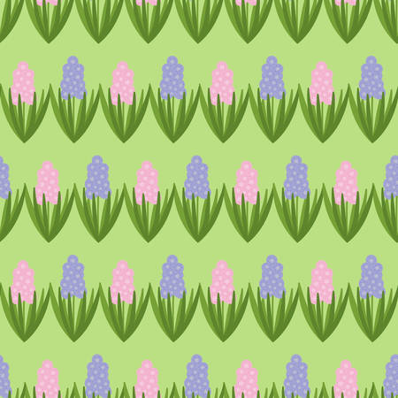 Seamless pattern with pink and purple hyacinths. Spring flower. Vector drawn background for fabric and other surfaces