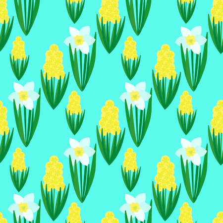 Seamless floral pattern on a blue mint background. Hand-drawn white Daffodils and yellow hyacinths . Spring bulbous flowers. Ilustração