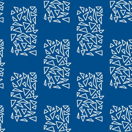 Vector geometric seamless pattern. White triangle outlines on a blue background. Vektorové ilustrace