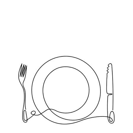 Continuous line art. Contour Cutlery Background. Kitchen utensils. One Line Drawing. Plate, fork, and knife. Vector illustration