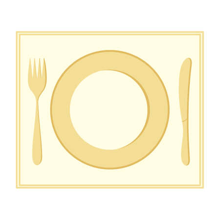 Plate, fork, and knife. Insulated Cutlery on a napkin. Dinnerware. Vector illustration for your design.