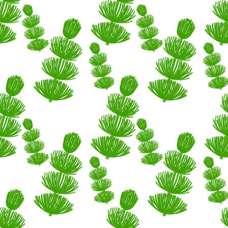 Seamless Botanical pattern. Herbaceous plants with soft thin leaves . Horsetail, a medicinal plant. Vector hand-Drawn background for surface design. Green plants on a white