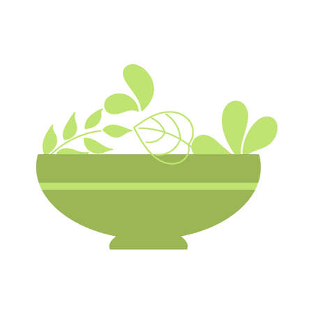 Salads bowl with salad, healthy lifestyle, raw food. Flat style. Vector illustration isolated on white background.