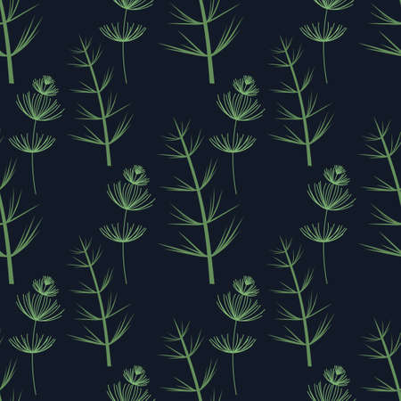 Vector Botanical seamless background. Different types of herbaceous plants . Green on dark blue.