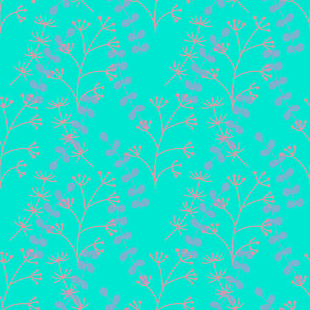 Vector Botanical seamless background. Different types of herbaceous plants . Pink and light purple herbs on blue.