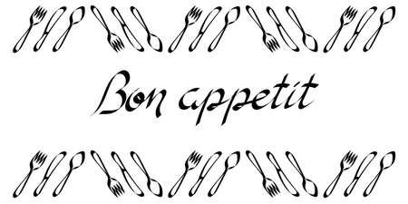 Bon appetit, a handwritten phrase . Framing of Cutlery . Vector illustration, calligraphy.