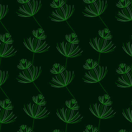 Seamless Botanical pattern. Horsetail, a medicinal plant. Vector hand-Drawn background for surface design. Green plants on a dark background.
