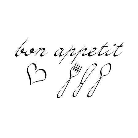 Bon appetit inscription. Vector illustration. Modern brush calligraphy. Hand drawn Text Isolated on white background. Cutlery, heart. Vetores