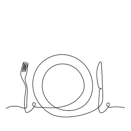 Kontinuierliche Strichzeichnungen. Kontur-Besteck-Hintergrund. Küchenutensilien. Eine Strichzeichnung. Teller, Gabel und Messer. Vektor-Illustration. Vektorgrafik