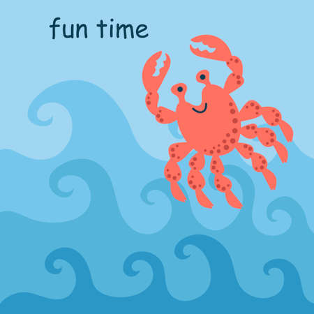 Merry crab jumping on the waves. Fun time, signature. Hand drawing vector illustration.