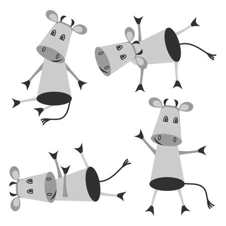Funny cow doing yoga . Isolated animals on a white background. Vector set.