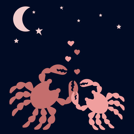 Enamoured crabs . Hearts, Moon and stars in the night sky. Silhouettes of sea animals. Valentines day card, place for text. Vector illustration