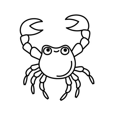 Cute crab for coloring page. Doodle illustration on white. Vector isolated outline drawing. Element for coloring books, posters, printing t-shirts, logos, stickers.