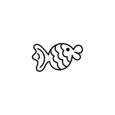 Vector cute fish. Nautical theme. Isolated on a white background. Hand-drawn doodles, contour illustration. Element for coloring books, posters, printing t-shirts, logo.