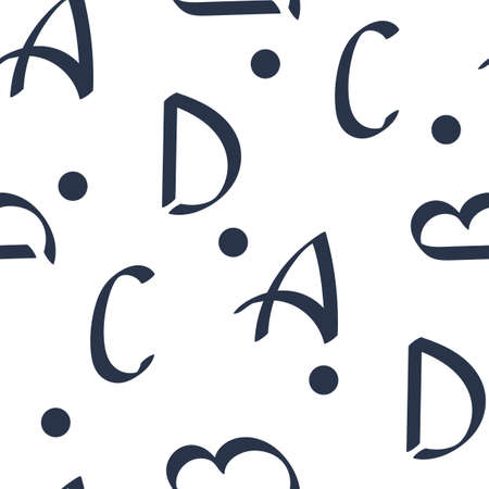Seamless pattern with Letters and Polka dot . Hand drawn background. Can be used as fabric, wrapping paper, background, Wallpaper, bag template, cover and other surface. Ilustração