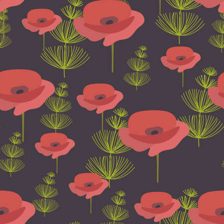 Seamless pattern. Red poppy Flowers and green herbaceous plants. Vector background, suitable for fabric, textiles, bedding, covers. Ilustração
