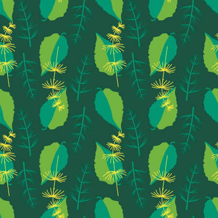 Seamless background. Two-color leaves and twigs of herbaceous plants. Vertical stripes from plants. Hand drawn decorative floral ornamental background. Vector illustration Ilustração