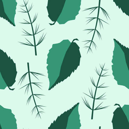 Seamless background. Two-color leaves and twigs of herbaceous plants. Hand drawn decorative floral ornamental background. Vector illustration