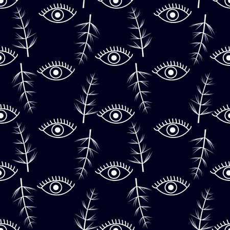 Vector Seamless pattern with eyes and herbaceous plants . Freehand drawing style. White on dark blue. Flat design.