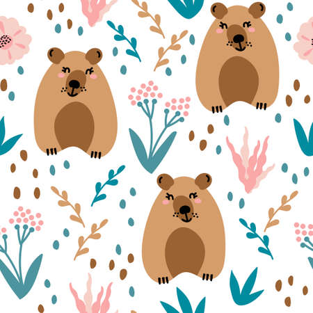 Seamless pattern with cute bears and floral elements, flowers, branches, leaves . Creative childish texture. Great for fabric, textile and other surface. Vector Illustration